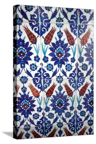 Iznik Tiles, Rustem Pasha Mosque, Istanbul, Turkey--Stretched Canvas Print