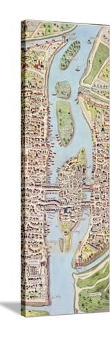 Detail of the Ile De La Cité, from the Map of Paris C. 1540, known as the 'Plan De La…-Caroline Naudet-Stretched Canvas Print