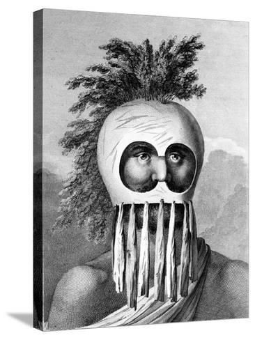 A Man of the Sandwich Islands in a Mask, Illustration from 'A Voyage to the Pacific', Engraved by…-John Webber-Stretched Canvas Print