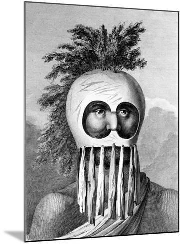 A Man of the Sandwich Islands in a Mask, Illustration from 'A Voyage to the Pacific', Engraved by…-John Webber-Mounted Giclee Print