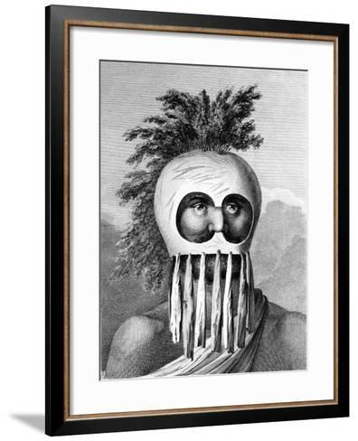 A Man of the Sandwich Islands in a Mask, Illustration from 'A Voyage to the Pacific', Engraved by…-John Webber-Framed Art Print