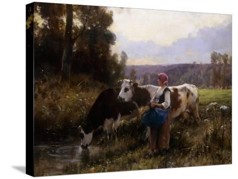 Cows at the Watering Hole-Julien Dupre-Stretched Canvas Print