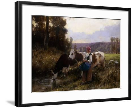 Cows at the Watering Hole-Julien Dupre-Framed Art Print