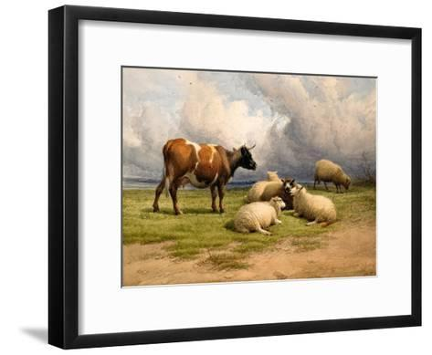 A Cow and Five Sheep, 1887-Thomas Sidney Cooper-Framed Art Print