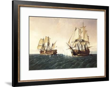 Combat Between the Spanish Ship 'Catalan' and the British Ship 'Mary' in 1819, 1888-Rafael Monleon Y Torres-Framed Art Print