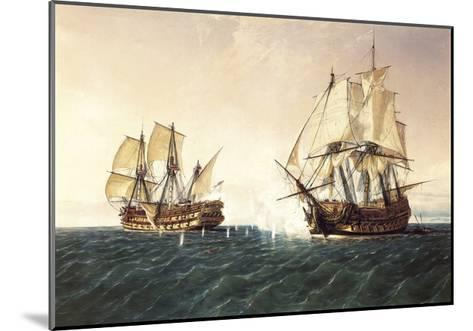 Combat Between the Spanish Ship 'Catalan' and the British Ship 'Mary' in 1819, 1888-Rafael Monleon Y Torres-Mounted Giclee Print