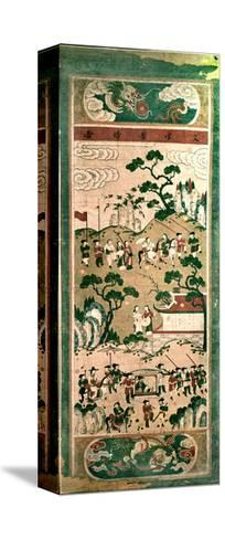 "A Painted Scroll in the Chinese Style Depicting "" the Festive Return of the Civil Servant""--Stretched Canvas Print"
