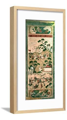 "A Painted Scroll in the Chinese Style Depicting "" the Festive Return of the Civil Servant""--Framed Art Print"