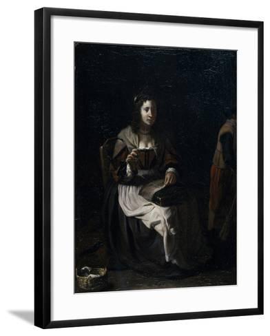 A Woman Sewing-Michael Sweerts-Framed Art Print