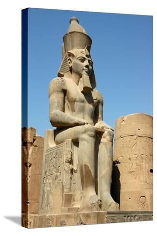 Seated Figure of Rameses II Wearing the Double Crown of Upper and Lower Egypt--Stretched Canvas Print