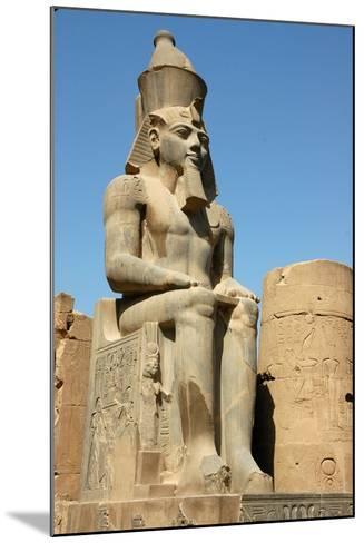 Seated Figure of Rameses II Wearing the Double Crown of Upper and Lower Egypt--Mounted Giclee Print