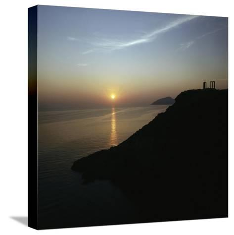 Temple at Cape Sounion Dedicated to the Sea God Poseidon--Stretched Canvas Print
