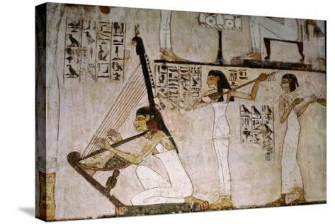 A Detail of a Wall Painting in the Tomb of Rekhmire Showing Women Playing the Harp, Lute and…--Stretched Canvas Print
