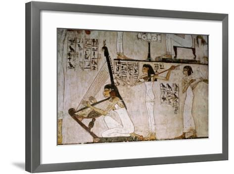 A Detail of a Wall Painting in the Tomb of Rekhmire Showing Women Playing the Harp, Lute and…--Framed Art Print
