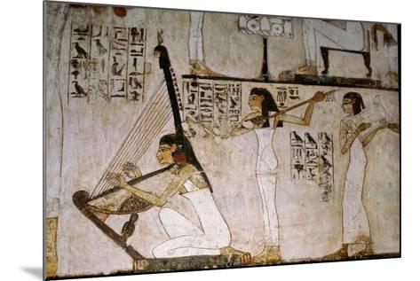 A Detail of a Wall Painting in the Tomb of Rekhmire Showing Women Playing the Harp, Lute and…--Mounted Giclee Print