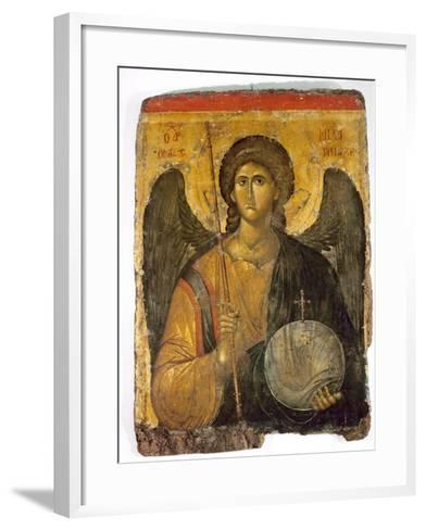An Icon with the Image of the Archangel St Michael Holding a Staff and a Globe Surmounted by the?--Framed Art Print