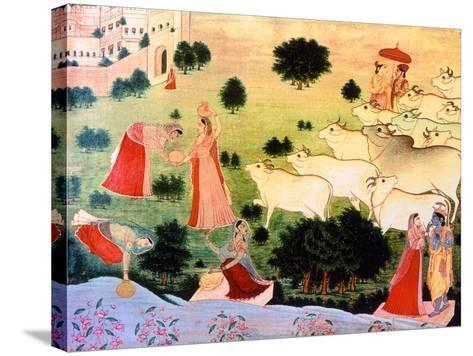 Illustration of the Meeting of Krishna and Radha, (Krishna's Favourite Amongst the Gopi Girls) on…--Stretched Canvas Print