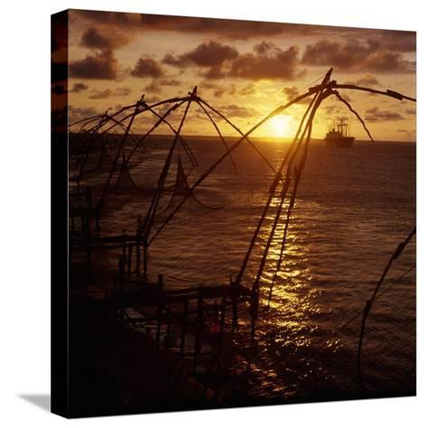 Typical Chinese-Style Fishing Nets in Use in Cochin Harbour--Stretched Canvas Print