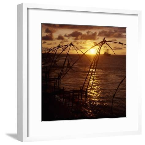 Typical Chinese-Style Fishing Nets in Use in Cochin Harbour--Framed Art Print