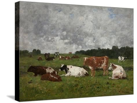 Cows at the Pasture-Eug?ne Boudin-Stretched Canvas Print