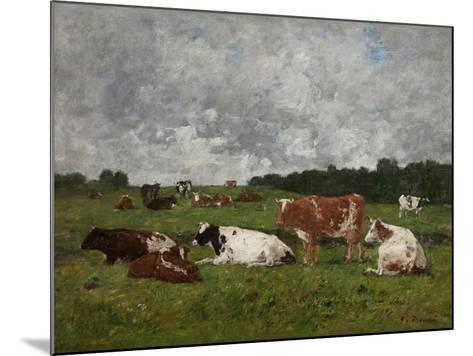 Cows at the Pasture-Eug?ne Boudin-Mounted Giclee Print