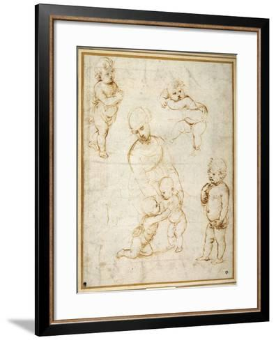 Studies for the 'Madonna of the Meadow', C.1505-Raphael-Framed Art Print