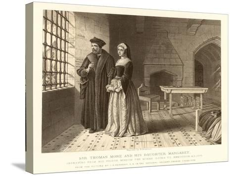 Sir Thomas More and His Daughter Margaret--Stretched Canvas Print