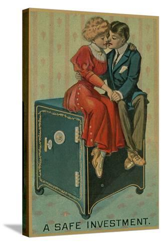 Man and Woman Embracing on a Safe, a Safe Investment--Stretched Canvas Print