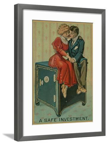Man and Woman Embracing on a Safe, a Safe Investment--Framed Art Print