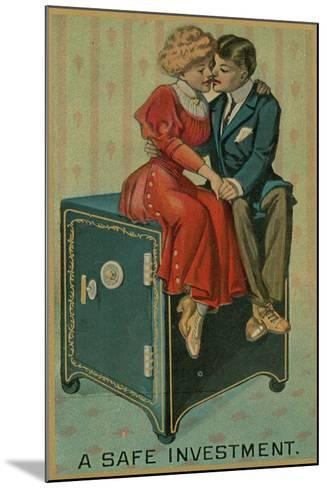 Man and Woman Embracing on a Safe, a Safe Investment--Mounted Giclee Print