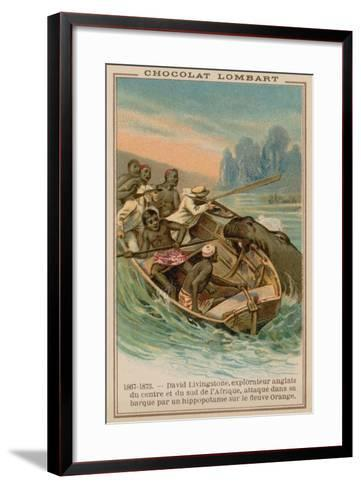 David Livingstone's Boat Being Attacked by a Hippopotamus on the Orange River, Africa, 1867-1873--Framed Art Print