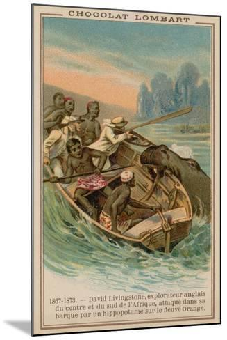 David Livingstone's Boat Being Attacked by a Hippopotamus on the Orange River, Africa, 1867-1873--Mounted Giclee Print