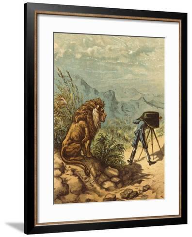 Promising Outlook, Lion Observes Photographer-Ernest Henry Griset-Framed Art Print