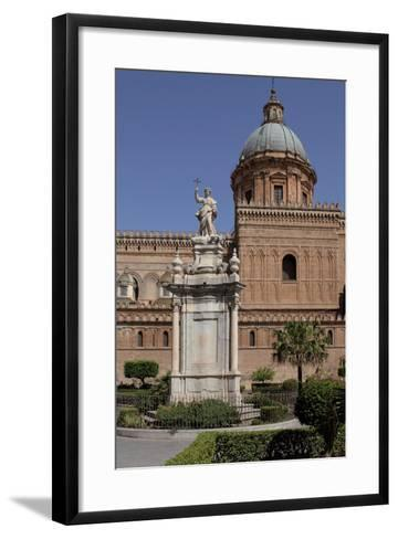 Statue of Saint Rosalia in Front of Palermo Cathedral, Sicily--Framed Art Print