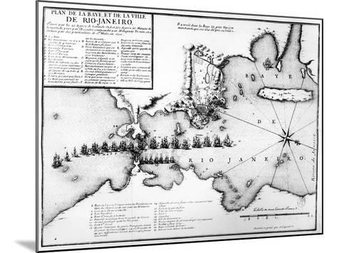 Plan of the Bay and City of Rio De Janeiro and the Disposition of the French and Portuguese Naval…-Antoine Coquart-Mounted Giclee Print