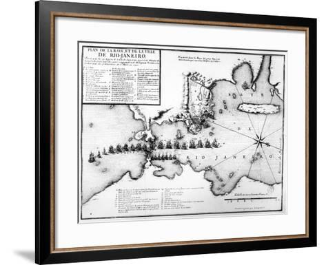 Plan of the Bay and City of Rio De Janeiro and the Disposition of the French and Portuguese Naval…-Antoine Coquart-Framed Art Print