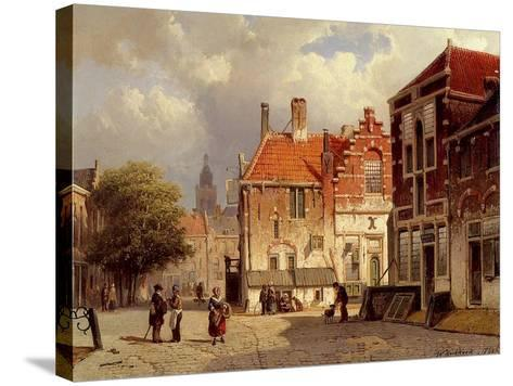 A Dutch Town Square, 1860-Willem Koekkoek-Stretched Canvas Print
