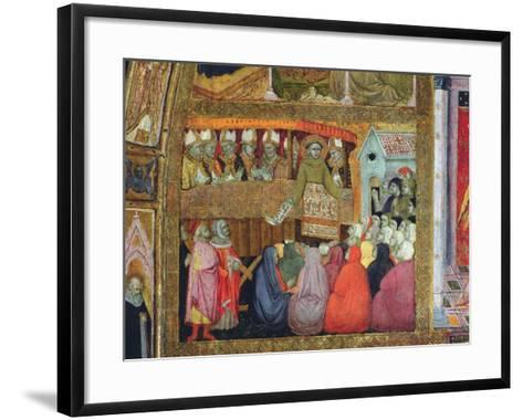 St. Francis Promulgates the Indulgence, Accompanied by the Bishops of Umbria, Fresco from the…-Ilario da Viterbo-Framed Art Print