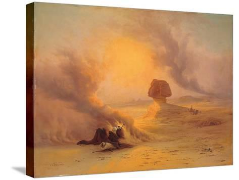 A Caravan Caught in the Sinum Wind Near Gizah-Johann Jakob Frey-Stretched Canvas Print