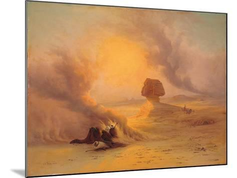 A Caravan Caught in the Sinum Wind Near Gizah-Johann Jakob Frey-Mounted Giclee Print