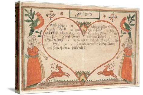 Birth and Baptismal Certificate (Geburts Und Taufschein) for Johannes Kemp, Illustration from…--Stretched Canvas Print