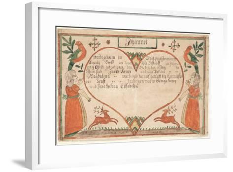 Birth and Baptismal Certificate (Geburts Und Taufschein) for Johannes Kemp, Illustration from…--Framed Art Print