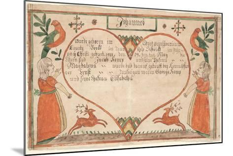 Birth and Baptismal Certificate (Geburts Und Taufschein) for Johannes Kemp, Illustration from…--Mounted Giclee Print