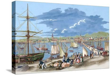 """Russia. Riga. 19th Century. Harbour. Engraving of """"L'Univers Illustre"""", 1861. Colored--Stretched Canvas Print"""