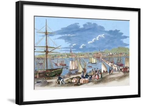 """Russia. Riga. 19th Century. Harbour. Engraving of """"L'Univers Illustre"""", 1861. Colored--Framed Art Print"""