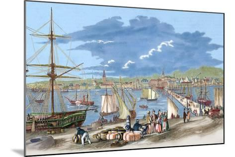 """Russia. Riga. 19th Century. Harbour. Engraving of """"L'Univers Illustre"""", 1861. Colored--Mounted Giclee Print"""