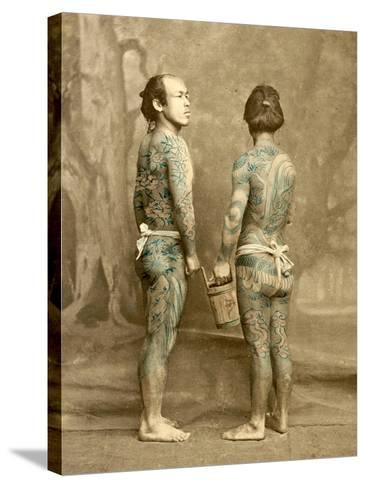 Two Men with Traditional Japanese Irezumi Tattoos, C.1880--Stretched Canvas Print