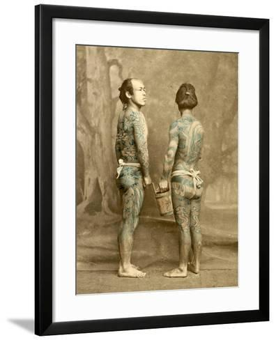 Two Men with Traditional Japanese Irezumi Tattoos, C.1880--Framed Art Print