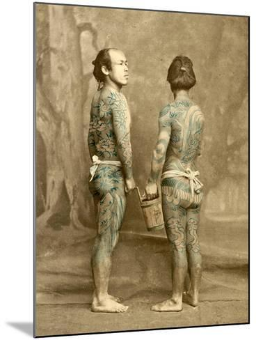 Two Men with Traditional Japanese Irezumi Tattoos, C.1880--Mounted Photographic Print