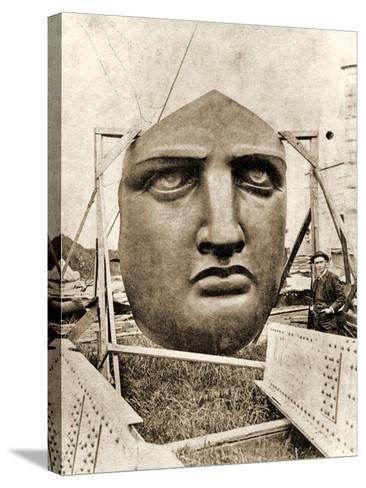 The Construction of the Statue of Liberty, Detail of the Face, C.1876--Stretched Canvas Print